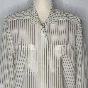 Vintage 90s Liz Claiborne Striped Blouse 45PE